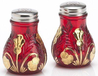 Salt & Pepper Shaker Set Inverted Thistle Mosser USA Red Glass Handpainted Gold