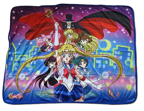 "Sailor Moon R Guardians & Tuxedo Mask Sublimation Throw Blanket 46""x60"" Official"