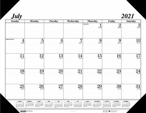 2021-2022 Monthly Desk Pad Calendar, Academic, Economy, 22 x 17 Inches, July
