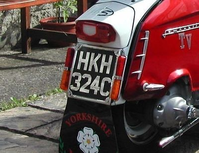 "Gloss Black Perspex 6.5""sq. Rear Number Plate for LAMBRETTA or VESPA"