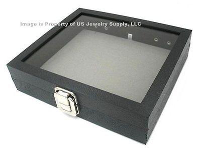 Glass Top Lid Grey Pad Box Organizer Case Display Pins Medals Jewelry