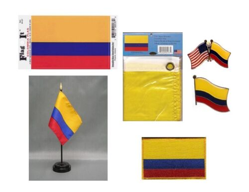 Colombia Heritage Flag Pack - Colombian 3x5 Flag, 2 Lapel Pins, Vinyl Decal