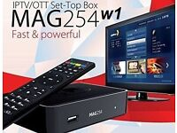 Brand new Original Mag 254 w1 with built in wifi and 12 months iptv