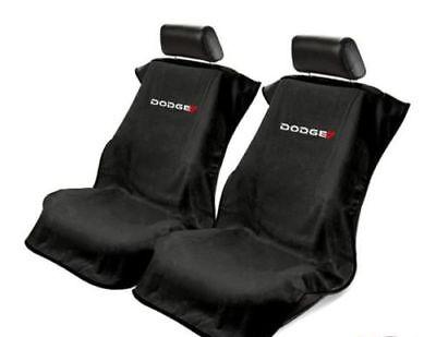 Pair (2) New Dodge Logo Emblem Black Towel Protector Seat Armour Covers