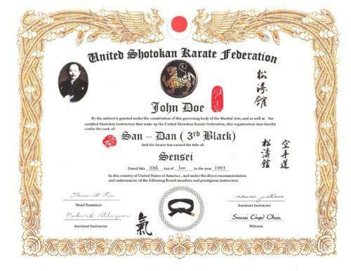 martial arts certificates ebay