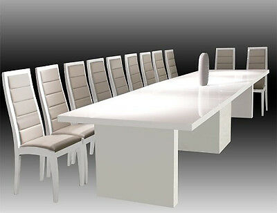 Sharelle Modern White Lacquer Conference Table With Extensions To 167 W