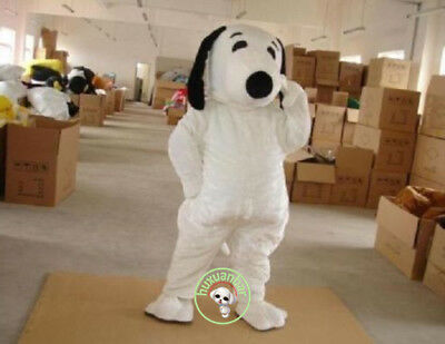Adult Snoopy Costume (Snoopy White Dog Mascot Costume 2018 Cute Suit Party Clothing Fancy Dress)