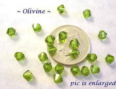 48 OLIVINE SWAROVSKI CRYSTAL # 5301 BICONE BEADS 4MM Olivine Swarovski Crystal Bicone Bead