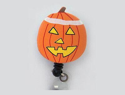 PUMPKIN Halloween Retractable ID Badge Reel Card Holder Keychain Key Ring Orange