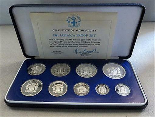 1981 SILVER JAMAICA LIMITED EDITION PROOF 9 COIN COLLECTOR SET MINTAGE 1,519