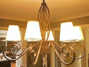 Brown Wrought Iron Chandelier with Added Shades