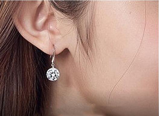 925 Sterling Silver Dangle Hook Clear Crystal Earrings For Women 3