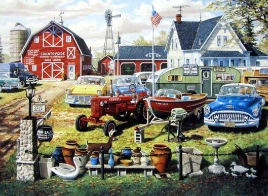 """Ken Zylla /""""Past Gas Old Car Art Print Signed and Numbered 30/"""" x 18/"""""""