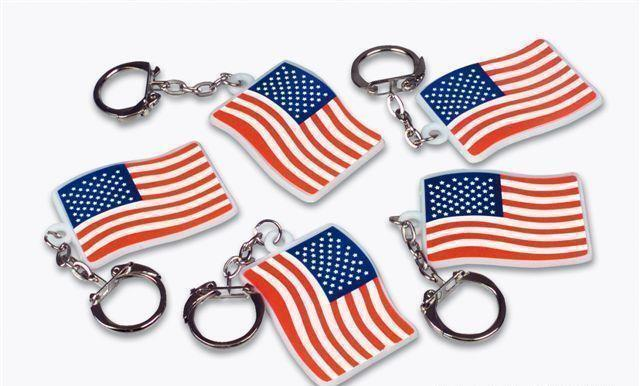 """12 US Flag Keychains 2"""" American USA Patriotic Giveaway #ST46 Free Shipping"""