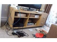 Nice Wooden TV Table with lots of Storage and 2 Draws Good Condition Can Deliver