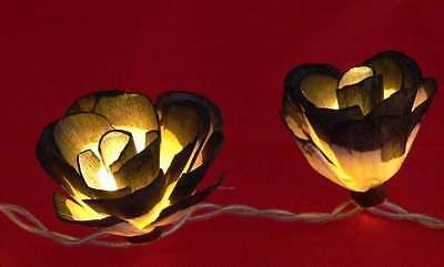 35 Black White Sano Rose Flower LED Light Sting 4.5 metre Noir Masquerade decor