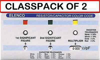 Pack Of 2 Elenco Cc-100 Resistorcapacitor Color Code Calculator Guide