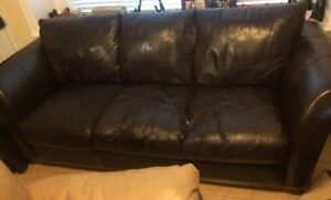Free IF YOU PICK UP - Dark Brown leather couch