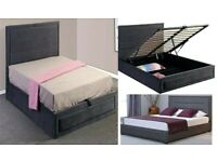 🌈Best Furniture🌈NEW Modern KUNDI FABRIC OTTOMAN STORAGE Double or King Size Bed-ORDER NOW