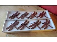 8 Wooden Dragonfly Napkin Rings