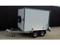 Box Trailer Tickners GT 7' x 5' x 5' in White with Barn Doors