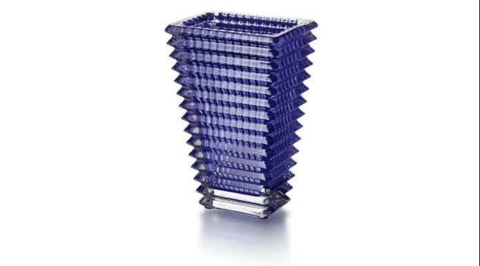Baccarat Crystal Rectangular Eye Vase - Blue; New