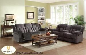 Recliner Set in Charcoal Grey with cup holders MA10 9636CCUP (BD-1381)