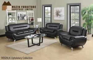 3 PC Modern Sofa Set in Black Leather - Kitchen and Couch Sale (BD-2471)