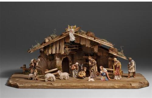 """15 Piece Kostner Nativity Scene with Creche / Stable - 4"""" Woodcarvings, Figures"""