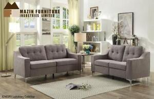 Grey fabric Sofa and Loveseat at great Price (BD-2464)