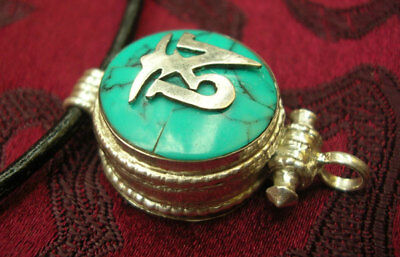 Great Tibetan Wooden Amulet Gau Nepal 925 Silver Turquoise Om