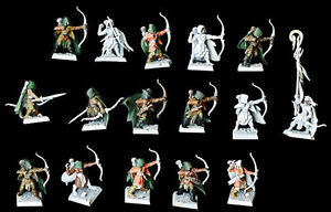 16 Glade Guard Wood Elf Warhammer Regiment assembled