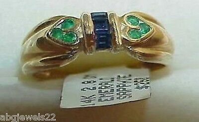 14K Heart Emerald Princess Sapphire Band Ring New Tag Size 5.75 Yellow Gold
