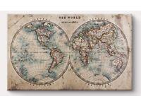 Classic world map canvas