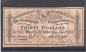 Civil-War-Confederate-1000-Bond-Interest-receipt-for-30-00-Super-Nice