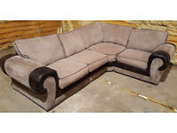 Large Corner Sofa - Light Brown. Can deliver