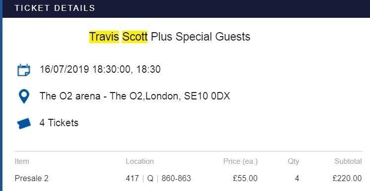 f4cd952e4b7e Travis Scott at o2 Arena Tuesday 16th July - x2 Tickets £80 AXS transfer  tickets