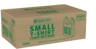 2000 T-shirt Carry Out Bags Small Grocety Thank You Plastic Stores Members Mark