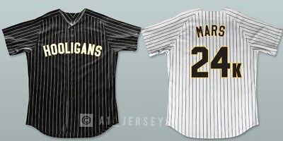 Bruno Mars 24K Hooligans Baseball Jersey Stitched Black White