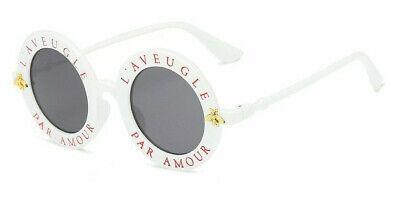 Sonnenbrille Blogger Grau NEU Weiss  Kunststoff Rund Biene Design Dame Schrift ()