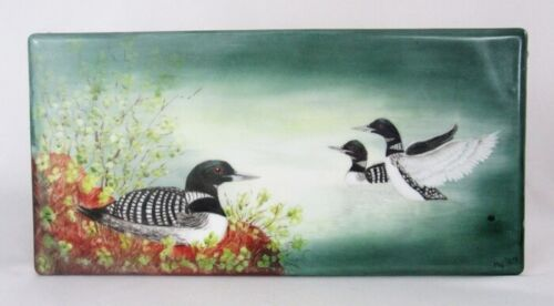 "Vintage Hand Painted Signed Loon Birds in Water 12"" Porcelain Tile Plaque - WOW!"