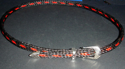 Western Cowboy/Cowgirl HAT BAND Black/Red Horsehair Buckle - Red Cowgirl Hats