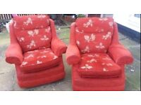 Lovely orange mix red 2x single chairs FREE