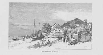 Hamburg Strand von Blankenese HOLZSTICH von 1880 Fischerboote