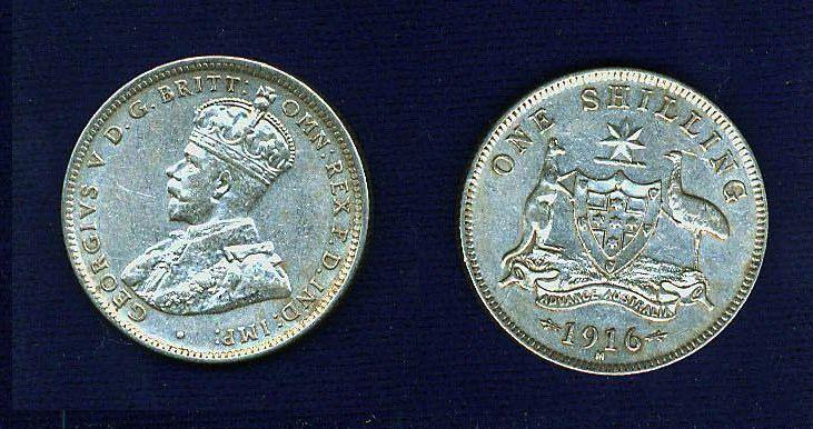 AUSTRALIA GEORGE V  1916-M  1 SHILLING SILVER COIN XF++