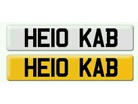 Personalised registration Private number plate HELLO CAB TAXI DRIVER chauffeur KAB
