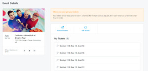 Coldplay - Tuesday Sept 26, 2017 - 4 seats