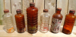 VINTAGE 1940-50s SHELL GASOLINE OIL BOTTLES POLISH SHELLTOX FLY