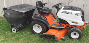 Columbia Hyrdrostatic Garden Tractor & Tow-Behind Lawn Sweeper