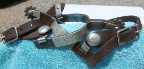 Antique Silver Overlay Iron stamped Kelly Horse Spurs/ Straps Collector Condit.